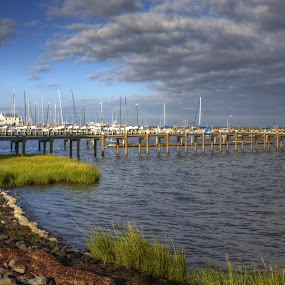 Long Beach Island by Ward Vogt - Landscapes Waterscapes ( clouds, water, harbor, green, long beach island, boats, ocean, photography, dock, lbi, sea grass, bay, blue, rocks, ward vogt )