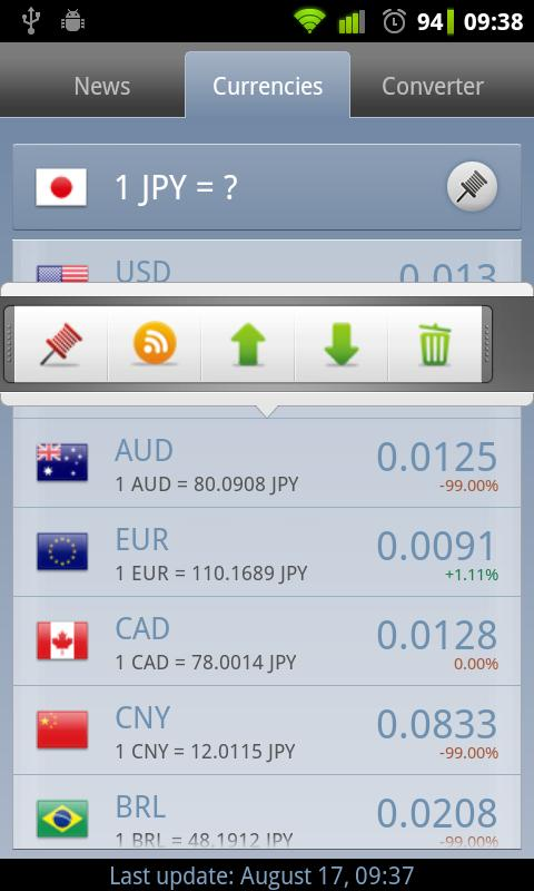 Currency Exchange Rates - screenshot