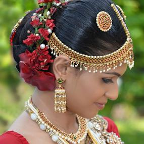 Bride by Kavindu Anthony - Wedding Bride ( home coming, beautiful, osary, traditional, cute, osari, manamaali, red, jewellery, wedding, asia, kandian, homecomming, bride,  )