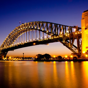 Sydney Harbour Bridge by Michael Lucchese - Buildings & Architecture Bridges & Suspended Structures ( water, cityscapes, sydney harbour bridge, sunsets, australia, architectural, long exposure, nikon, bridges, sydney, photography,  )