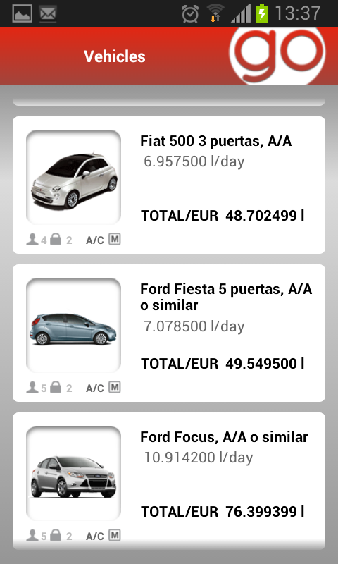 Record Go car hire - screenshot