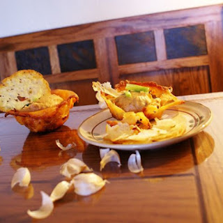 Creamy Sun Dried Potato Cups with Cheese Chips
