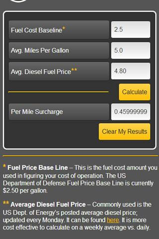 Fuel Surcharge Calculator - screenshot