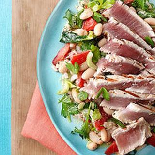 Sliced Tuna Steak with Kale & White Bean Salad Recipe