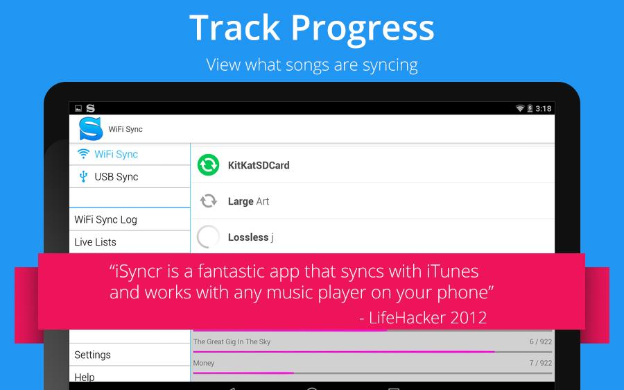 iSyncr for iTunes to Android- screenshot