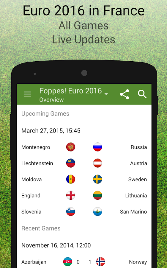 euro 2016 schedule results android apps on google play. Black Bedroom Furniture Sets. Home Design Ideas