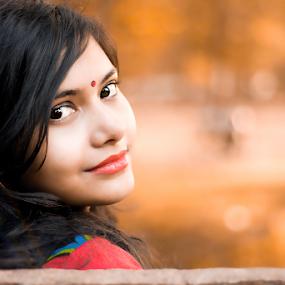 Himika by Arafat Chowdhury - People Portraits of Women ( black air red lipstick yellow background beautiful woman )