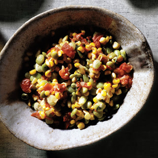 Succotash of Fresh Corn, Lima Beans, Tomatoes and Onions.