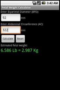 Fetal Weight Calculator - screenshot thumbnail