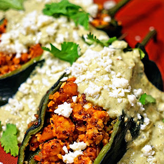 Quinoa Chicken Stuffed Poblano Chiles with Green Chile Cream Sauce