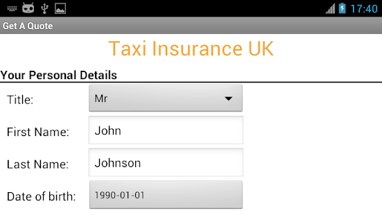 Taxi Insurance UK Cheap Quotes- screenshot thumbnail