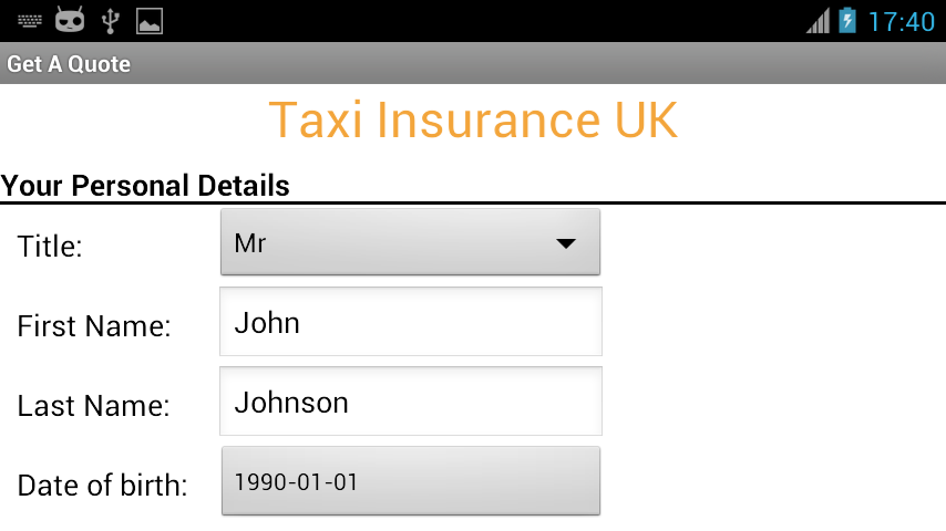 Taxi Insurance UK Cheap Quotes- screenshot