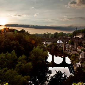 Sunrise over Knaresborough Bridge by Danielle Falknor - Landscapes Sunsets & Sunrises ( england, village, yorkshire, sunrise, bridges, knaresborough )