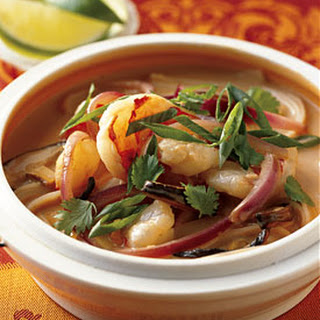 Spicy Shrimp and Coconut Noodle Soup with Shiitake Mushrooms