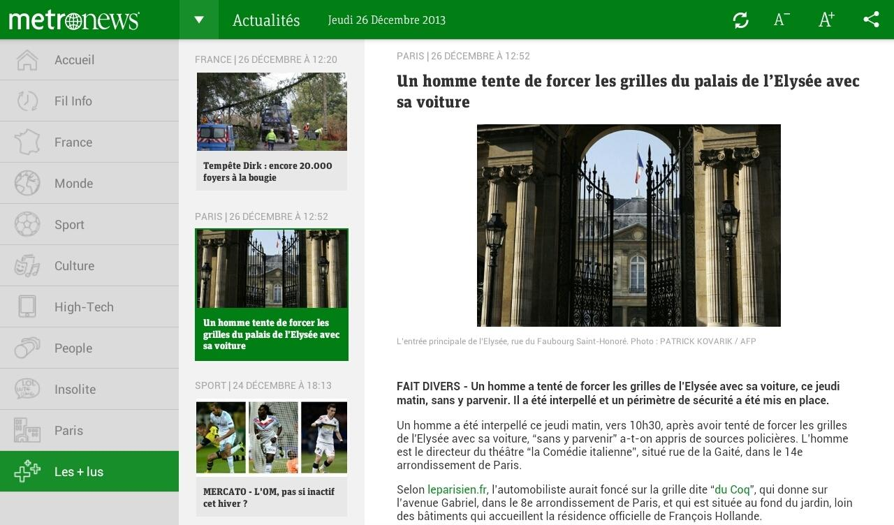 Metronews pour tablette - screenshot