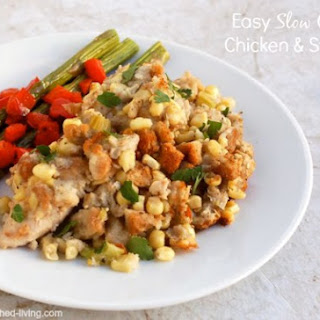 Easy Crock Pot Chicken and Stuffing.