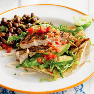 Grilled Fish Tacos with Chipotle Cream.