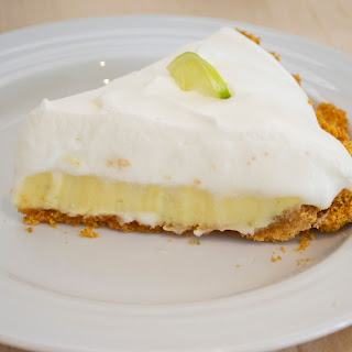 Key Lime Pie with Meringue Whipped Cream.