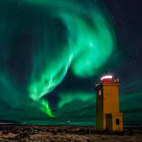 Calling the Lights  by Guðmundur Hjörtur - Landscapes Starscapes ( iceland, northern lights, lighthouse, solarstorm )