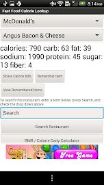 Fast Food Calorie Lookup Screenshot 1