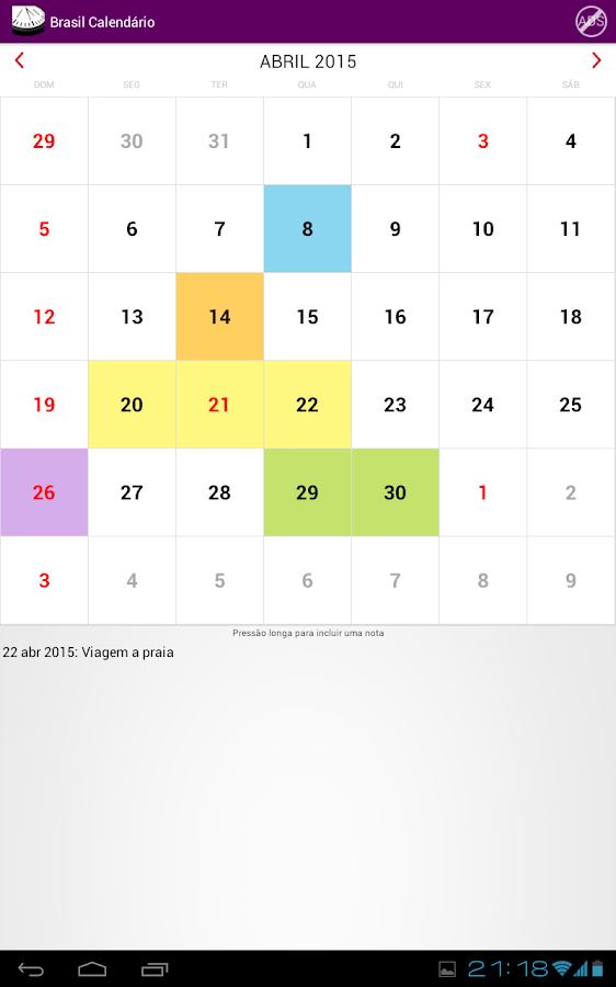 Brasil Calendário 2015 NoAds - screenshot
