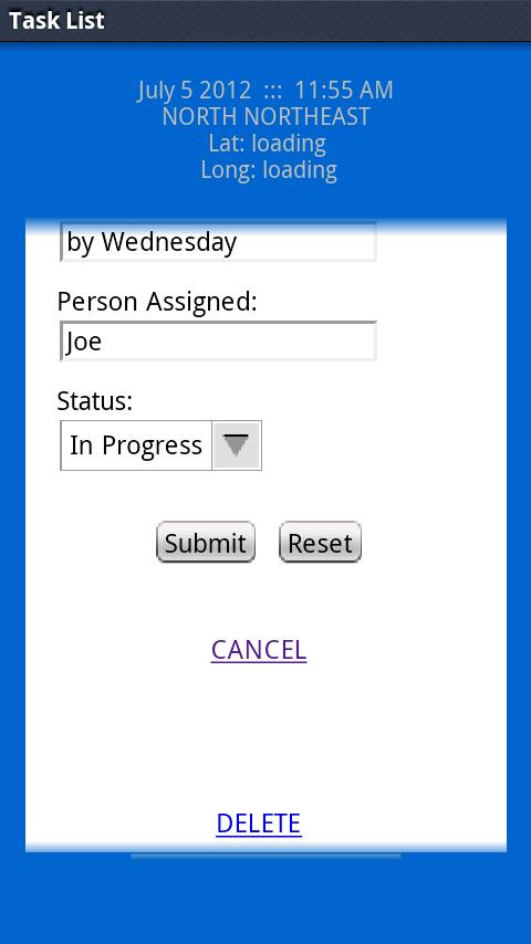 Mobile Task List- screenshot