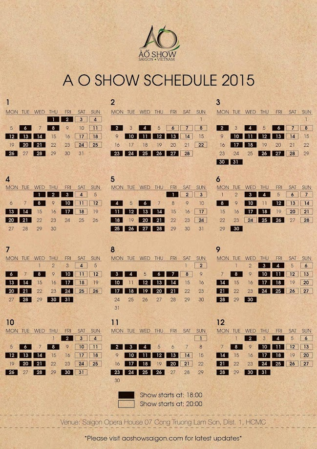A O Show Schedule 2015