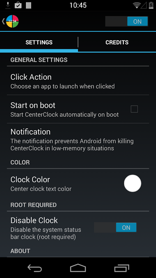 CenterClock [Root] - screenshot