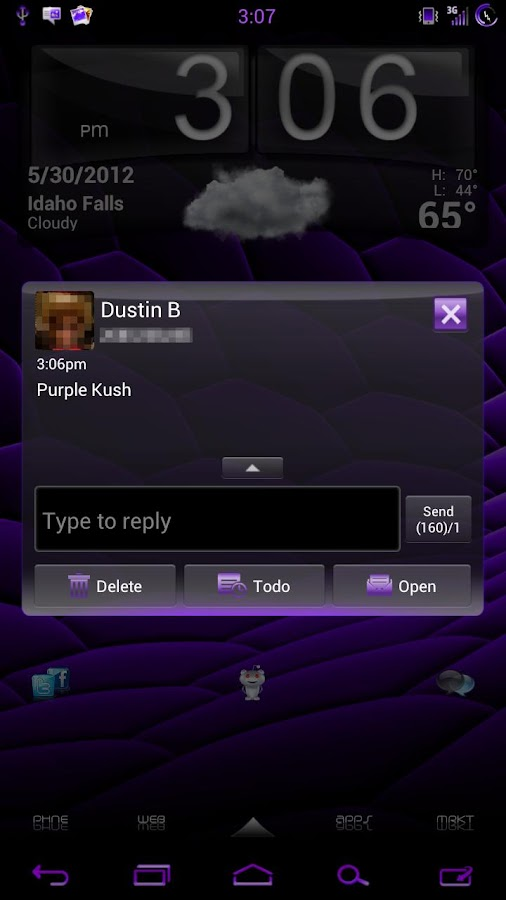 GO SMS Pro Purple Kush Theme - screenshot