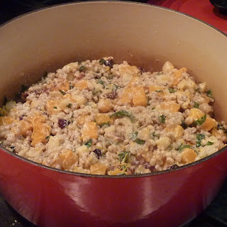 Barley Pilaf with Butternut Squash, Apples, Pears and Calvados Goat Cheese Cream Sauce.