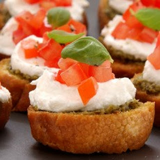 Bruschettas with Goats' Cheese, Basil and Tomato Recipe