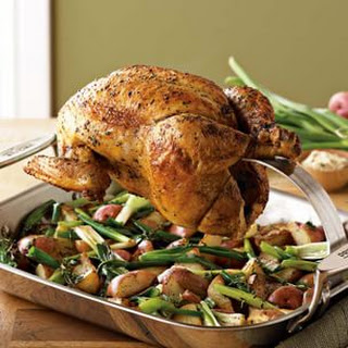 Roast Chicken with Potatoes & Green Onions