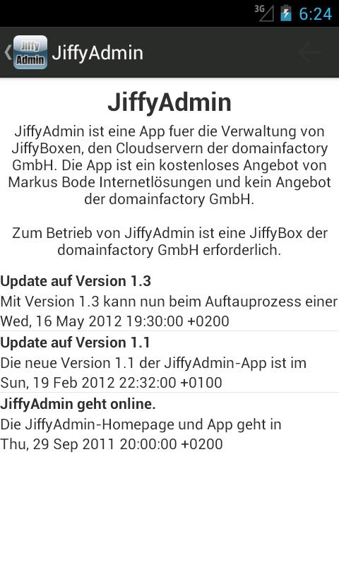 JiffyAdmin - screenshot