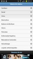 Screenshot of Valores de Laboratorio