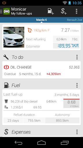 Car fuel log costs - Monicar