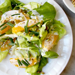 Butter Lettuce Salad with Pistachios and Orange Crème Fraîche Dressing