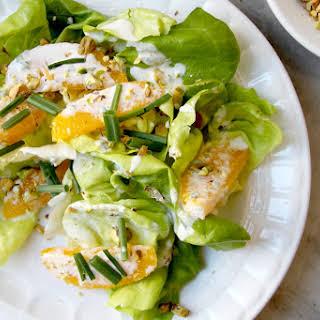 Butter Lettuce Salad with Pistachios and Orange Crème Fraîche Dressing.