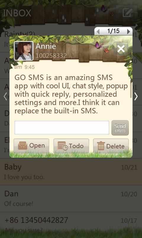 GO SMS Pro Springtime theme - screenshot