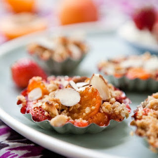 Apricot, Almond and Strawberry Crumble.