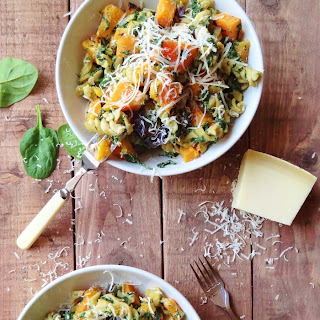 Spinach & Ricotta Pasta With Roast Butternut Squash & Red Onion.