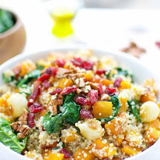 Quinoa With Butternut Squash Spinach And Dried Cranberries.