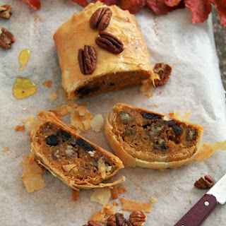 Butternut, Cranberry, and Pecan Sweet Strudel.