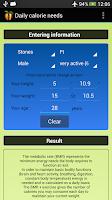 Screenshot of Daily calorie needs (BMR)