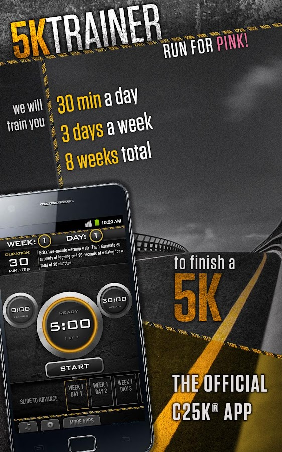 Couch potato to 5k app for android for Couch 5k app