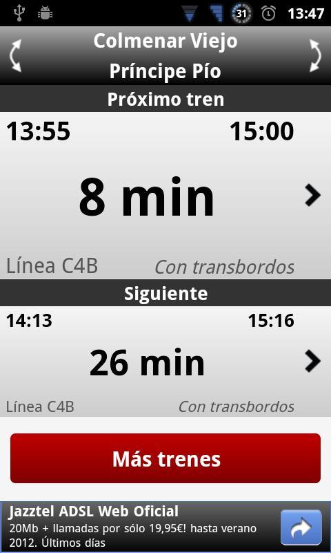 Next Train- screenshot