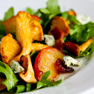 Chanterelle, Bacon and Plum Salad with Blue Cheese.