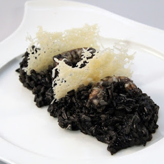 Black Rice with Shrimp and Leeks.