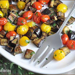 Spicy Roasted Eggplant and Cherry Tomatoes.