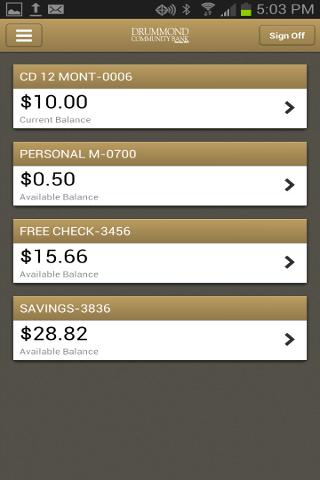 Drummond Community Bank Mobile- screenshot