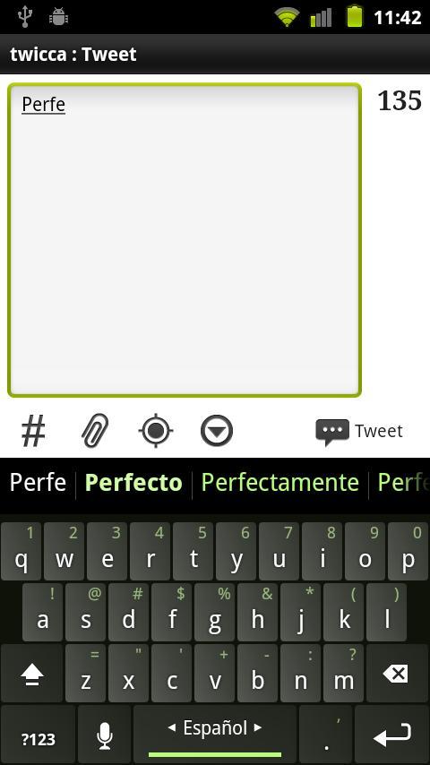 Spanish Keyboard plugin- screenshot